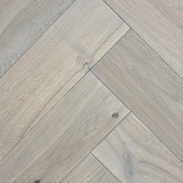 Manteli Almond Grey Brushed Oiled Oak Herringbone Flooring