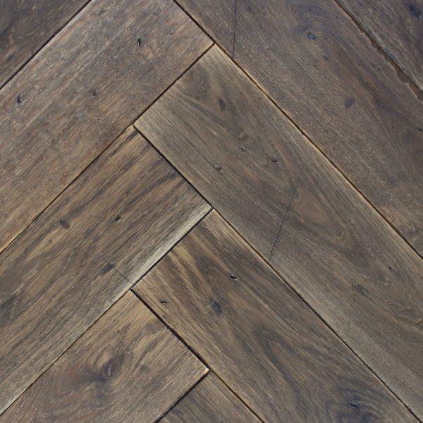 Temple Aged Dark Brown Vintage Oak Herringbone Flooring