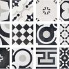 Monocrom Mix Black & White Mixture Of Modern & Traditional Italian Porcelain Tiles Showing Tile Mix In Each Box