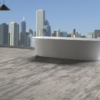 Embla Grey Wood Tile and free standing bath