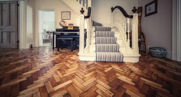 Original herringbone parquet softwood restored entrance floor