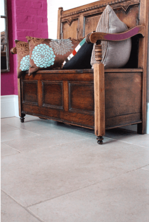 tiled floor with wooden decorative bench