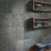 Cast Iron antqued metal effect tile with feature tile