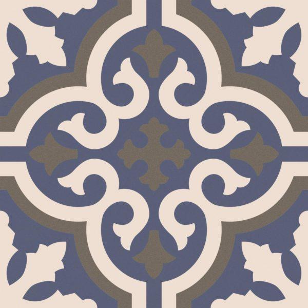 Maroc Five Encaustic Style Blue Patterned Porcelain Tile