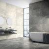 Bathroom Floor Tiles in Maurienne Anthracite Black Quartzite Stone Effect Porcelain