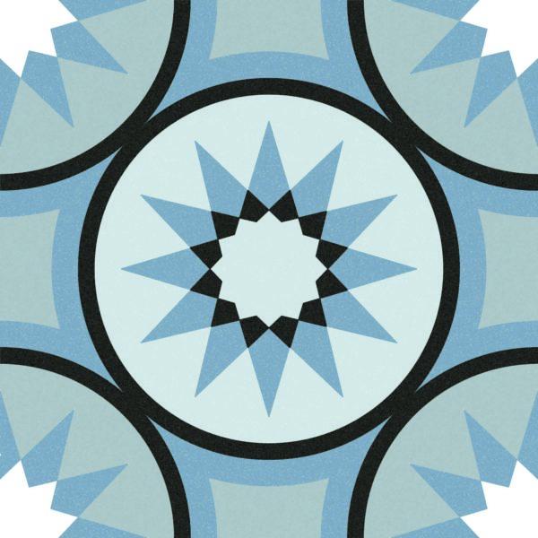 Maroc Aqua Blue Encaustic Style Patterned Porcelain Tile