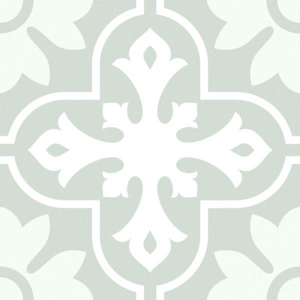 Maroc Fern Green Encaustic Style Patterned Porcelain Tile