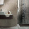 Bathroom Shower Wall Tiled in Maurienne Natural Quartzite Stone Effect Porcelain Tiles