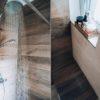 Mayenne Dark Brown Wood Tile on shower wall