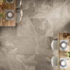 Restaurant Floor Tiled in Maurienne Natural Brown Stone Effect Porcelain Tiles