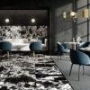 Restaurant tiled floor and wall in Noire Antique Black & White Marble Effect Porcelain